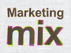 Advertising concept: Marketing Mix on fabric texture background Stock Illustration