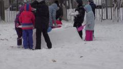 Winter Happy Kids Playing Games - stock footage