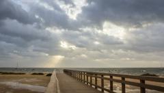 4K 180º Pan Timelapse Cloudy Morning Ria Formosa park, Cavacos beach. Algarve Stock Footage
