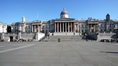 Trafalgar Square, National Gallery, London Stock Footage