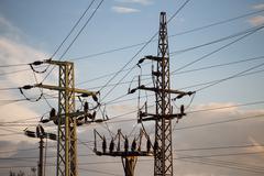 Column high voltage - stock photo
