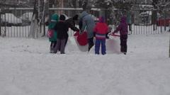 Winter Children Happy Snow Background - stock footage