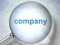 Stock Illustration of Finance concept: Company with optical glass