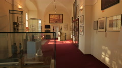 Exhibits and statues inside the museum in Prague Stock Footage