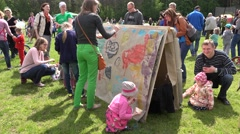 Creative children draw art works in public event. 4K Stock Footage