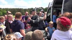 Cop show police equipment shield helmet truncheon for children. 4K Stock Footage