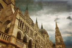 Hungarian parliament building by Danube river. Stock Photos