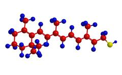 Molecular structure of retinol (form of vitamin A) - diterpenoid and alcohol Stock Illustration