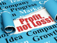 Business concept: red text Profit, Not Loss! under the piece of  torn paper - stock illustration