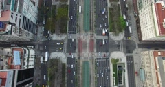 Aerial Drone scene of 9 de Julio main Avenue, of Buenos Aires, Argentina. - stock footage