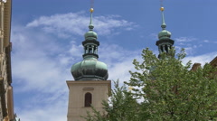 Church of Saint Gallus's towers in Prague Stock Footage