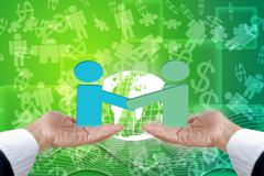 Hand Show Business Cooperation. - stock illustration