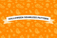 Halloween vector background seamless pattern - stock illustration