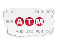 Currency concept: ATM on Torn Paper background Stock Illustration