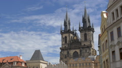 View of Church of our Lady before Tyn's towers in Prague Stock Footage