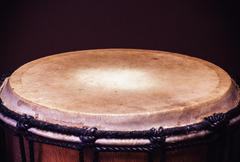 Old Wooden Djembe Percussion - stock photo