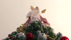 Decorating a christmas tree HD Stock Footage