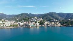 Aerial view of the Italian Riviera rapallo Italy Stock Footage