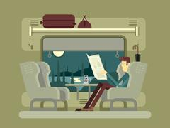Passenger rides on train - stock illustration