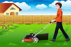 Man mowing the lawn Stock Illustration