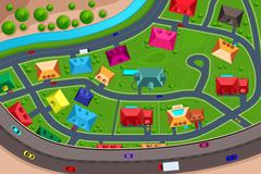 Houses in suburban viewed from above - stock illustration
