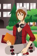 College student on campus - stock illustration