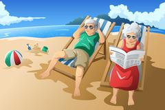 Senior couple enjoying their retirement Stock Illustration