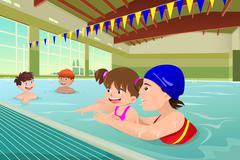 Kids having a swimming lesson in indoor pool - stock illustration
