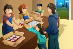 Team of volunteer working at food donation center - stock illustration