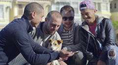Two Gay Couples Take Fun Selfies With Dog, In Front Of Painted Ladies Stock Footage