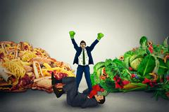 Vegetarian food representative winner in fight with unhealthy junk fatty food - stock illustration