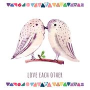 Watercolor wedding card with birds. Love each other Stock Illustration