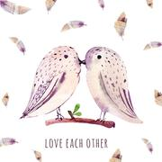 Stock Illustration of Watercolor wedding card with birds. Love each other