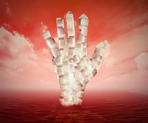 White sugar cubes shaped as human hand floating in blood - stock illustration