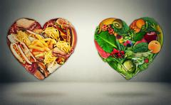Diet choice dilemma and heart health concept - stock illustration