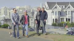 Two Gay Couples Go For A Walk In The Park, Dog Walks Alongside  Off-Leash Stock Footage