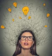 Stock Photo of thinking woman with question signs and light idea bulb above head looking up