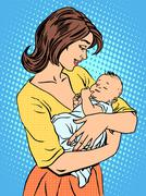 Mother and newborn baby Stock Illustration