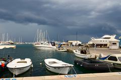 Port of town Bar in stormy weather, Montenegro Stock Photos