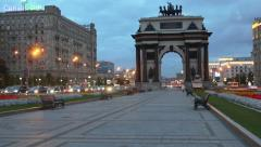 Triumphal arch on Kutuzovsky avenue with traffic at autumn day - stock footage
