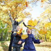 Family playing with autumn leaves - stock photo