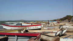 Fishing boats on the banks of Lake Malawi Stock Footage