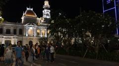 Saigon city hall night view Stock Footage