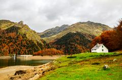 This is an outstanding mountain walk around the seven Ayous Lakes at the head - stock photo
