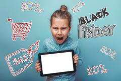 teen girl Black  Friday discount sale shopping shouts opened her - stock photo