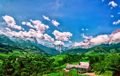 Amazing landscape at the Pyrenees mountains in France Stock Photos