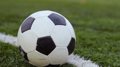 Stock Video Footage of soccer ball on the green grass