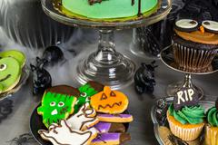 Stock Photo of Food table arrangement prepared for Halloween party