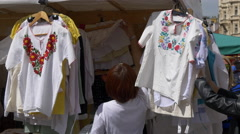 Selling Czech traditional shirts in Prague Stock Footage