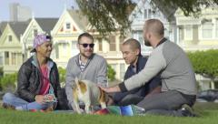 Two Gay Couples Enjoy Chatting In Front Of Painted Ladies, They Pet A Dog Stock Footage